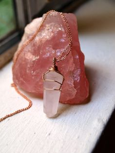 Rose Quartz Point Wire Wrapped in 100% Rose by happymedium4eco