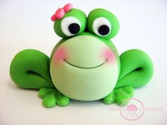 3D Fondant Girl Frog Cake Topper by SweetCreationByCarey on Etsy