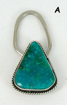 Authentic Native American Navajo Sterling Silver and Turquoise Key Ring by Cecil Atencio