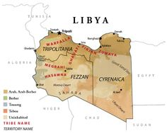 Map of Libya one of the five Nations of Africa's Mediterranean Sea
