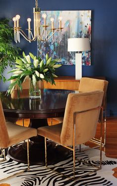 "love these chairs, brass Milo Baughman from ""A Kansas Home Filled with Color and Pattern"" 