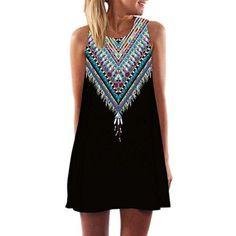 Oferta: 2.99€ Dto: -70%. Comprar Ofertas de Honghu Mujer Retro Vestido de Verano Casual Maxi Mini Vestido de Fiesta Noche de Impresion Dress Tamaño 2XL Negro barato. ¡Mira las ofertas!