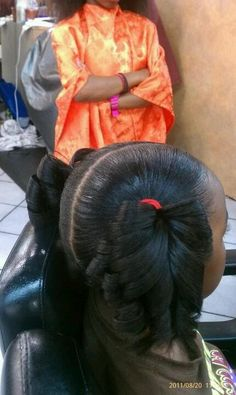 I always pin natural hair but I love to see little girls with press and curls for special occasions I used to get my hair done just like this
