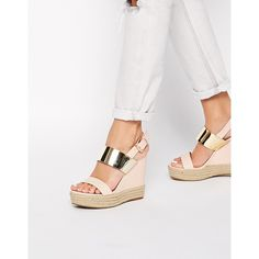 ASOS HASTY Wedges found on Polyvore featuring polyvore, fashion, shoes, nude, wedges shoes, high wedge shoes, wedge heel shoes, wedge slingback and asos shoes