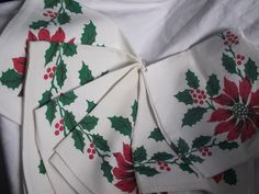 Set of SIX Poinsettia Linen NapkinsHoliday by KathysRetroKorner