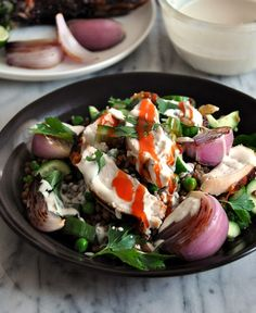 Roast Chicken & Lentils Salad with Garlic-Tahini-Yoghurt Dressing ...
