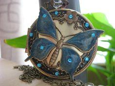 Locket Butterfly Locket Enameled Resin Locket Blue Aqua by CJCrew, $65.00