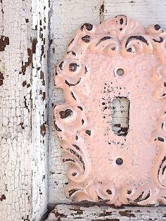 Metal Wall Decor, Light Switch Cover, Light Pink, Ornate Decor, French Decor, Girls Room. $12.00, via Etsy.