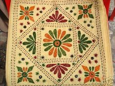 Simple Design For Nakshi Kantha Indian Embroidery Designs, Hand Embroidery Patterns Flowers, Hand Embroidery Videos, Embroidery Works, Hand Embroidery Stitches, Embroidery Techniques, Folk Embroidery, Kutch Work Designs, Cushion Embroidery