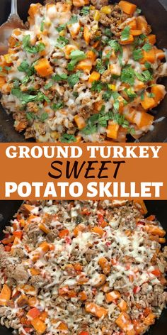 GROUND TURKEY SWEET POTATO SKILLET Turkey mince is extremely versatile, tasty and due to its low-fat content, it contains very few calories. This is a delicious recipe using every fitness buff's favorite carbohydrate: sweet potato. Low Carb Ground Turkey Recipe, Healthy Ground Turkey, Ground Chicken Recipes, Ground Turkey And Sweet Potato Recipe, Easy Ground Turkey Recipes, Healthy Turkey Mince Recipes, Healthy Recipes, Minced Turkey Recipes, Healthy Low Calorie Meals
