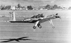 Nov. 21, 1948: The Wee-Bee, at the time the world's smallest piloted plane. This Beecraft creation weighed 150 pounds, had no cockpit -- the pilot was strapped to the fuselage -- and the landing gear was made out of tricycle wheels. (Associated Press) / SF