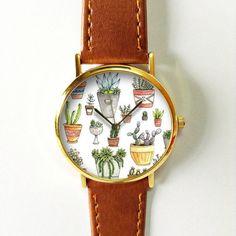 Cactus Plant Collection Watch 3 , Vintage Style Leather Watch, Women Watches, Boyfriend Watch, Men's watch, Summer Green Yellow , Succulent
