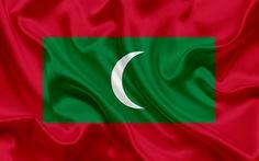 Indir duvar kağıdı Maldivler bayrağı, Güney Asya, Maldivler, ulusal bayrak