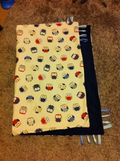 Boys owl pattern baby blanket