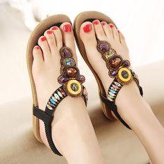 7f7be843f80 Woman Shoes Simple Flip Flops Korean Style Bohemia Beaded Soft Girl Flat  Sandals