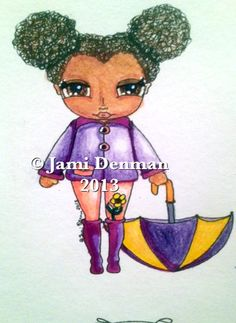 My Umbrella Girl digital stamp Available on my zibbet at Talularouge