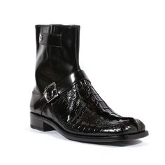 Mauri Italian Mens Shoes Park Lane Black Dover Calf Hornback Alligator & Ostrich Boots (MA1026)