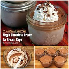 Individual Chocolate Dream Ice Cream Cups. No ice cream machine is needed to make this MAGIC rich, creamy, delicious ice cream. Freeze it in mason jars for easy individual servings. TheYummyLife.com