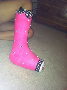 Bedazzled cast, just some ribbon, rhinestones, and hot glue