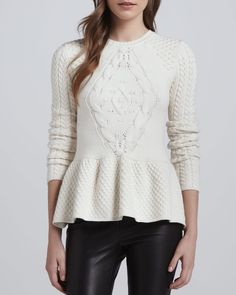 Torn by Ronny Kobo Layla Mixed-Knit Peplum Sweater - Neiman Marcus