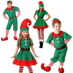 2018 Women Men Boy Girl Christmas Elf Costume Kids Adults Family Green Elf Cosplay Costumes Carnival for Party Supplies Purim Christmas Elf Costume, Christmas Suit, Christmas Fancy Dress, Kids Christmas, Green Christmas, Christmas Carnival, Christmas Hoodie, Christmas Clothes, Diy Elf Costume