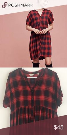 Anthropologie plaid swing dress 100% Rayon.  By Tylho.  Size small.  Never worn.  Button front.  Side pockets.  Swing silhouette. Dresses