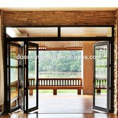 Thermal break aliuminium profile with high tempered glass six panel folding door give wide view folding door