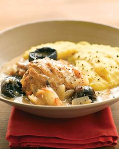On a cool night, simmer chicken with onion and white wine for a comforting and flavorful meal. Chicken thighs stay moist as they cook slowly in this hearty braise. Serve with polenta or mashed potatoes to catch the savory sauce.