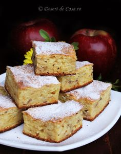 Prajitura cu iaurt si mere - Desert De Casa - Maria Popa Easy Cake Recipes, Sweets Recipes, My Recipes, Cooking Recipes, Romanian Food, Sweet Pie, No Cook Desserts, No Bake Cake, Summer Recipes