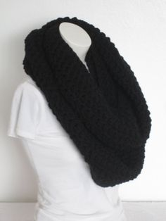 Chunky Infinity Scarf, Oversized Thick and Warm and Chunky- Black...Free Matching beanie hat with pom poms by VansBasicWear on Etsy