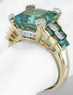 Custom Seafoam Green Tourmaline Ring @}-,-;--