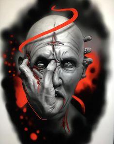 Michaela D. Dark Art Tattoo, Demon Tattoo, Color Tattoo, Tattoo Sketches, Tattoo Drawings, Body Art Tattoos, Sleeve Tattoos, Evil Tattoos, Scary Tattoos