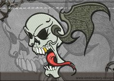 Biker patch The Flying Skull embroidery design – EmbroStitch