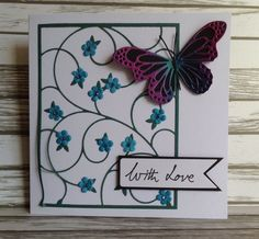 Poppy stamps Bailiwick Background & Memory box lunette & oriel butterfly by Gilly Haigh.