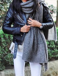 #grayscarf #whitejeans #leatherjacket