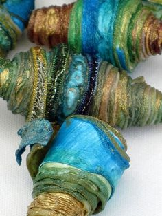 8 mixed media textile art beads hand made with Tyvek - TURQUOISE SEA - turquoise aqua sea green ocean blue gold yellow brown bronze gold