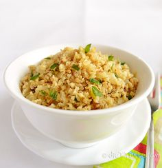Riced Cauliflower - diettaste.com. I make this recipe frequently as an alternative to rice. It is simple and delicious! I chop extra cauliflower and freeze it for later cooking.