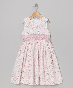 Take a look at this Pink Floral Ruffle Smocked Dress - Toddler & Girls by Petite Palace on #zulily today!