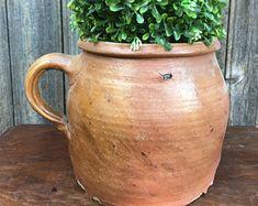 Pot en Terre Cuite avec Anse, Rustique, Pot à Confit, Support d'Ustensiles, Décoration Française pour Campagne Chic