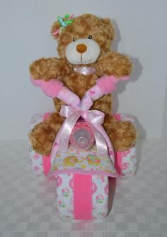 Diaper cake,Baby Shower Gift, Motorcycle Baby Cake, Tricycle, Trike,  Owls, Teddy bear, Girl ,Centerpiece,