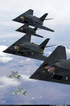 Awesome stack of F-117 stealth 'fighters' with F-22 stealth escort!!