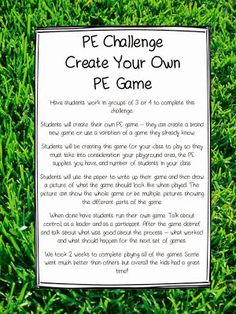 Are you tired of coming up with your own PE games, then let your students do it. Your students will have a blast! Have fun! You Might Also Like:Wallie Exercises – strong thoughtThe 10 Best Things About My Dad – reading skills and strategiesHoliday Stamp It! – AdditionArthur's Valentine – Comprehension Game & Compare/Contrast