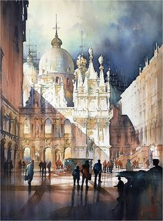 Courtyard - Doge's Palace - Venice by Thomas W. Schaller Watercolor ~ 30 x 22 inches