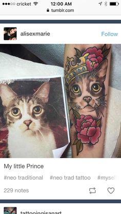 Crown/cat tattoo design