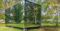 This Prefab Mirrored House Can Be Plopped Almost Anywhere House Of Mirrors, Prefab Cabin Kits, Prefab Cabins, Prefab Walls, Mirror Kit, Infinity Mirror, Getaway Cabins, Garden Office, Glass Garden