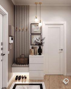 Home Hall Design, Home Interior Design, House Design, Hall Interior, Home Entrance Decor, House Entrance, Small Apartment Interior, Apartment Design, Design Hall Entrada