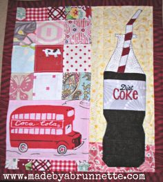 This would be my mug rug too, since I don't like coffee or tea! Diet Coke Mug Rug Front Embroidered Coca Cola Commercial, Coca Cola Decor, Movie Themes, Foundation Paper Piecing, Diet Coke, Mug Rugs, Quilting Projects, Quilt Blocks, Quilt Patterns
