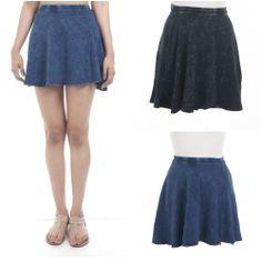 ebclo - Black & Navy Knit Mini Skater Skirt Pull-On Short Circle Skirt NEW #ebclo #Mini $16.00 Free Domestic Shipping