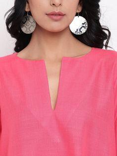 Pink Anti Fit Linen Cotton pocket Dress Embroidery On Kurtis, Kurti Embroidery Design, Saree Dress, Pink Fabric, Cotton Dresses, Dresses Online, Casual Office, Maxis, Dress Casual