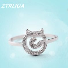 Temperament Popular 925 Sterling Silver Fashion Simple Zircon Crystal Cute Cat  Ring Korean Jewelry Allergy        SR58     Tag a friend who would love this!     FREE Shipping Worldwide     Buy one here---> http://jewelry-steals.com/products/temperament-popular-925-sterling-silver-fashion-simple-zircon-crystal-cute-cat-ring-korean-jewelry-allergy-sr58/    #hoop_earrings